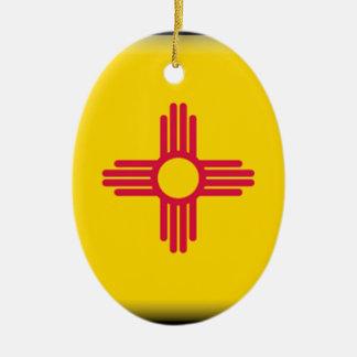 New Mexico Flag Ceramic Oval Decoration