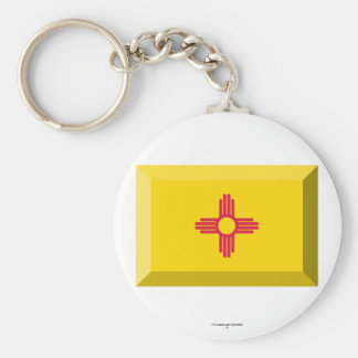New Mexico  Flag Gem Basic Round Button Key Ring
