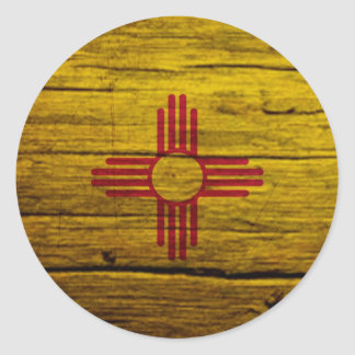 New Mexico flag rustic wood Classic Round Sticker