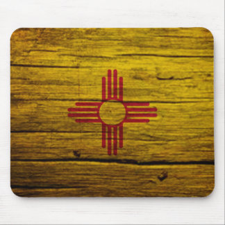 New Mexico flag rustic wood Mouse Pad