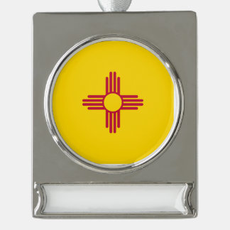 New Mexico Flag Silver Plated Banner Ornament