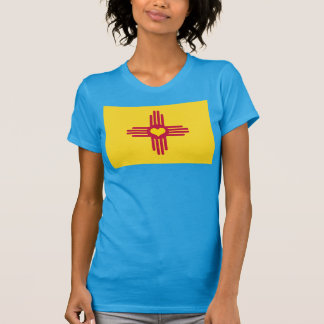 New Mexico Flag ZIA Heart - License Plate Style T-Shirt