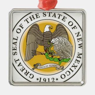 New Mexico Great Seal Silver-Colored Square Decoration