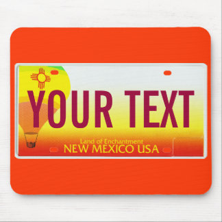 New Mexico hot air balloon license plate mouse pad