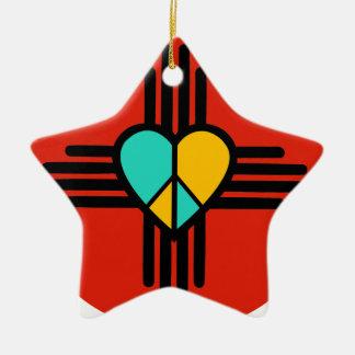 New Mexico, Love, Peace Ceramic Star Decoration