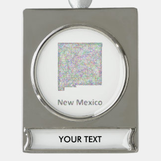 New Mexico map Silver Plated Banner Ornament