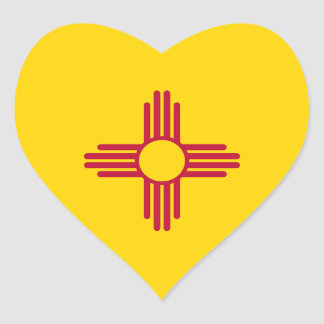New Mexico/Mexican State Flag (Zia), United States Heart Sticker