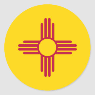 New Mexico/Mexican State Flag (Zia), United States Round Sticker