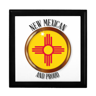New Mexico Proud Flag Button Large Square Gift Box