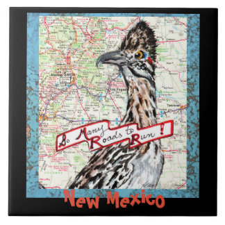 """New Mexico Roadrunner Map Souvenir Tile Trivet 6"""""""