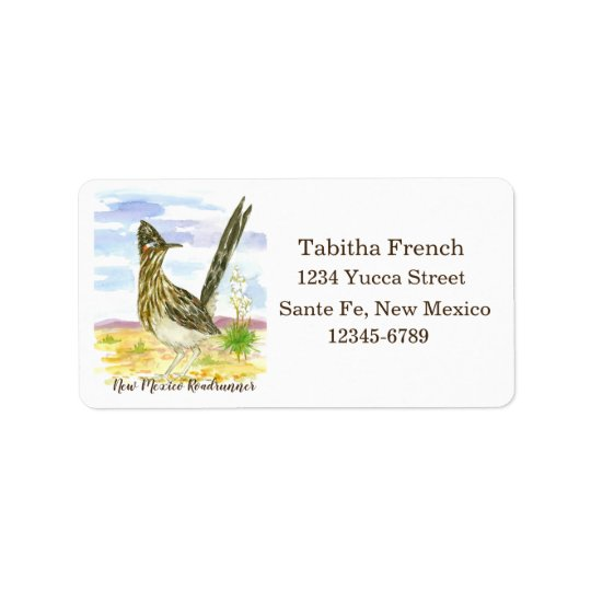 New Mexico Roadrunner State Bird Return Address Label