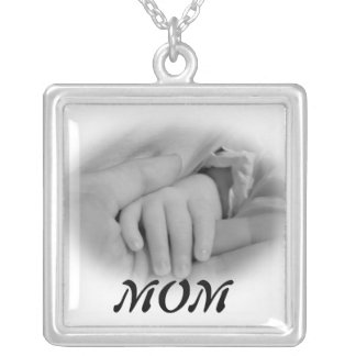New Mom and Baby Holding Hands Photo Square Pendant Necklace