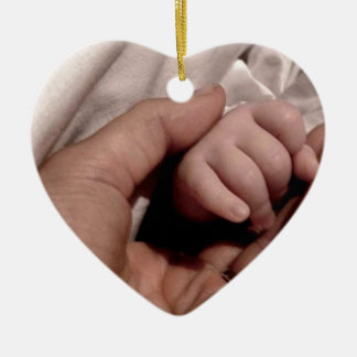 New Mom and Baby - Joy of Life Double-Sided Heart Ceramic Christmas Ornament