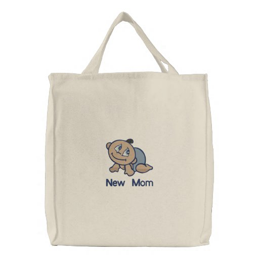 New Mom -  boy Embroidered Tote Bag