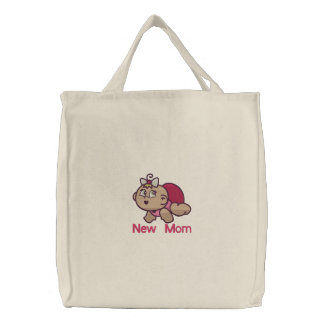 New Mom -  girl Embroidered Tote Bag