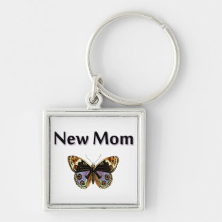 New Mom with Butterfly Illustration Silver-Colored Square Key Ring