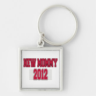 New Mommy 2012 Silver-Colored Square Key Ring
