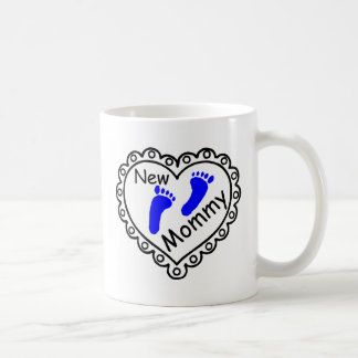 New Mommy Boy Blue Heart Coffee Mug