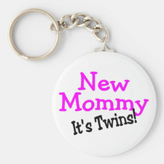 New Mommy Its Twins Basic Round Button Key Ring