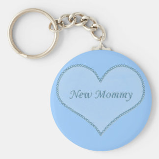 New Mommy Keychain, Blue Basic Round Button Key Ring