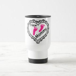 New Mommy Pink Footprints Heart Travel Mug