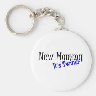 New Mommy Twins Basic Round Button Key Ring