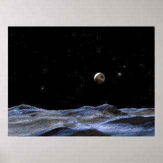 New Moons Around Pluto Poster