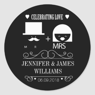 New mr & and mrs black and white wedding favors round sticker