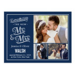 New Mr and Mrs Wedding Announcement - Navy Blue Postcard