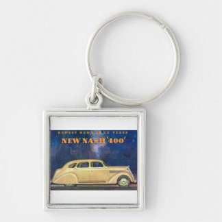 """New Nash """"400"""" Silver-Colored Square Key Ring"""