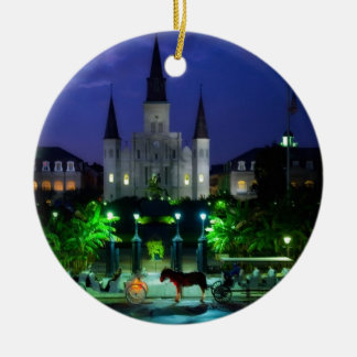 New Orleans at Night Ceramic Ornament