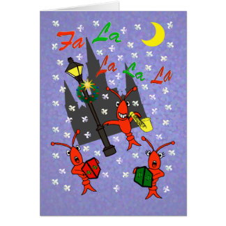 New Orleans Caroling Crawfish Christmas Card