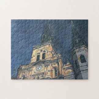 New Orleans Cathedral at Night Jig Saw Jigsaw Puzzle