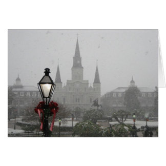 New Orleans Cathedral in snow 2008 Card
