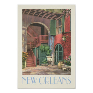 New Orleans Courtyard, vintage travel style Poster