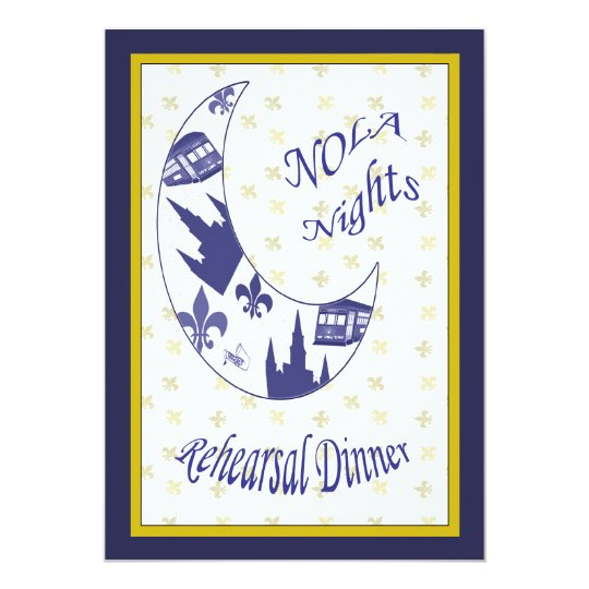New Orleans Crescent Moon Rehearsal Dinner Invite