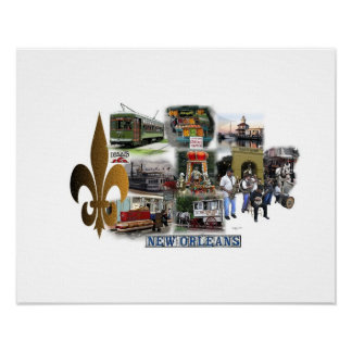 New Orleans Famous Landmarks and Scenes Poster