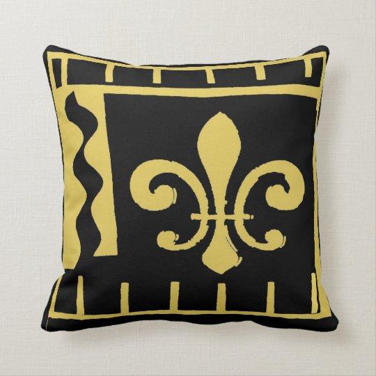 new Orleans fleur De Lis, Black and Gold Cushion