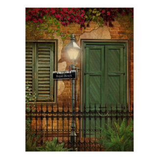 New Orleans French Quarter Brick & Stucco Poster