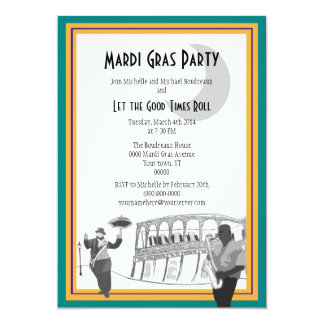 New Orleans Jazz Mardi Gras (teal green) Card