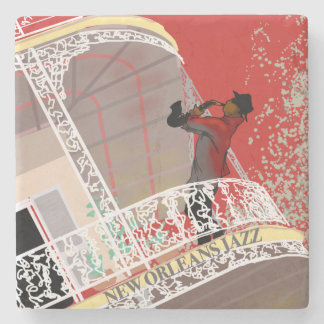 NEW ORLEANS JAZZ SAX by Slipperywindow Stone Coaster