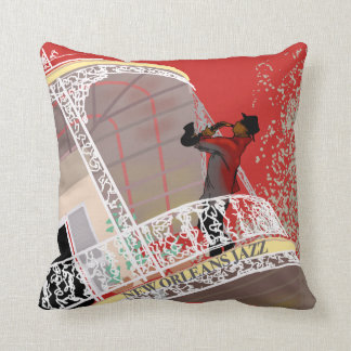 NEW ORLEANS JAZZ SAX by Slipperywindow Throw Pillow