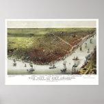 New Orleans, LA Panoramic Map - 1885 Print