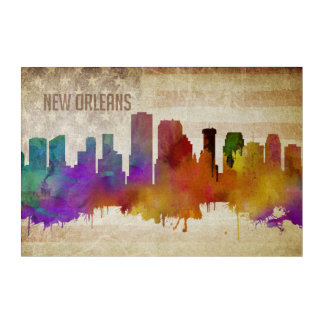 New Orleans, LA | Watercolor City Skyline Acrylic Print
