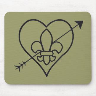 New Orleans Love Heart & Fleur De Lis Mousepad