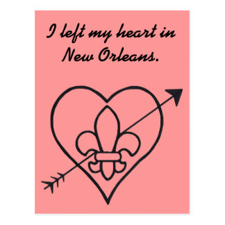 New Orleans Love Heart & Fleur De Lis Postcard
