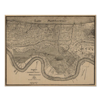 New Orleans MAp 1849 Poster