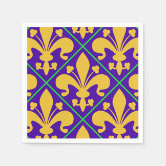 New Orleans Mardi Gras Fleur de Lis Disposable Serviette