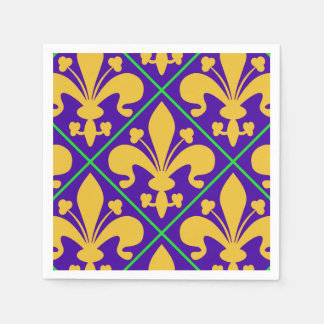 New Orleans Mardi Gras Fleur de Lis Disposable Serviettes