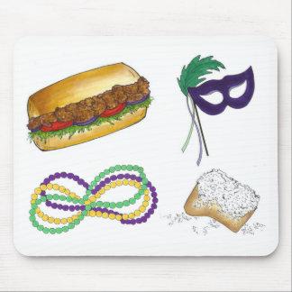 New Orleans Mardi Gras Mask Beads Beignet NOLA Mouse Pad